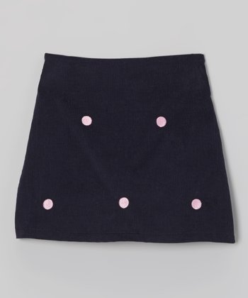 K&L Navy Dot Skort - Toddler & Girls