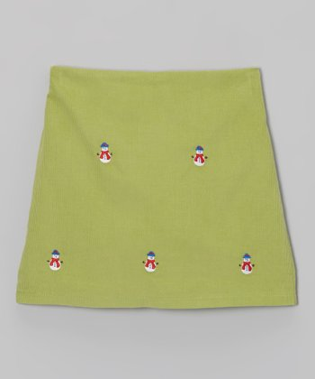 K&L Green Snowman Skort - Toddler & Girls