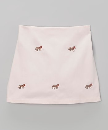 K&L Light Pink Horse Skort - Toddler & Girls