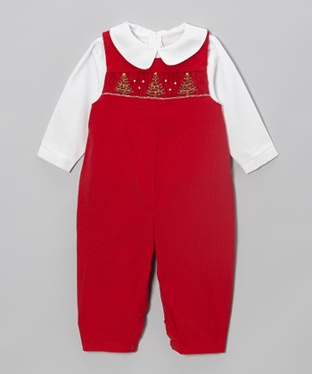 Red Tree Smocked Layered Playsuit - Infant