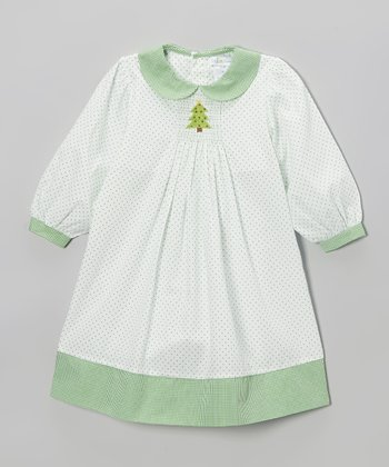 White & Green Smocked Tree Dress - Infant & Toddler