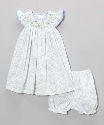 Blue Smocked Dress & Bloomers - Infant & Toddler