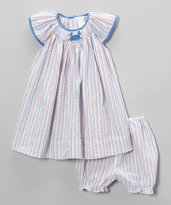 Blue Stripe Crab Smocked Dress & Bloomers - Infant