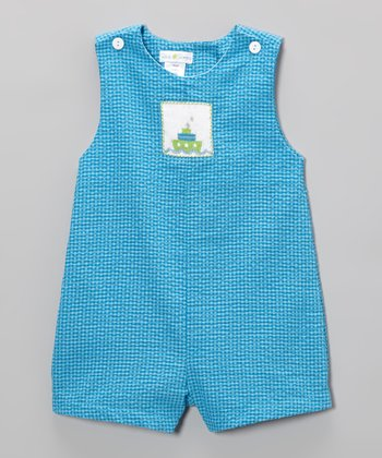 Turquoise Boat Smocked Shortalls - Infant
