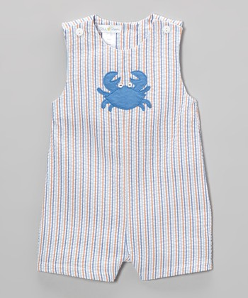 Blue Stripe Crab Shortalls - Infant