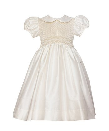 Ivory Danielle Silk Puff-Sleeve Dress - Infant & Toddler