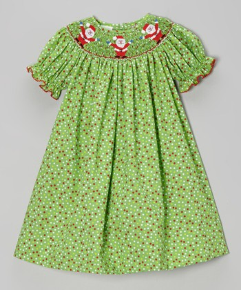 Green Dots Santa Bishop Dress - Infant, Toddler & Girls