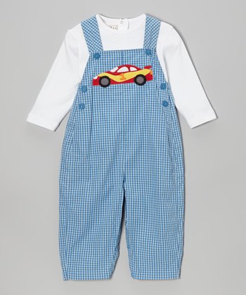 White Tee & Blue Racecar Gingham Overalls - Infant