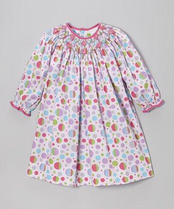 Pink & Lavender Polka Dot Bishop Dress - Infant & Toddler