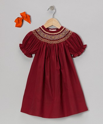 Maroon Short-Sleeve Bishop Dress & Bow Clip - Toddler & Girls
