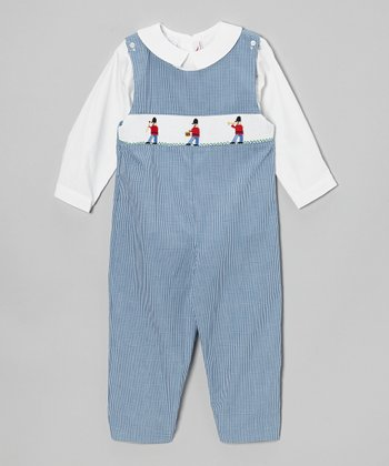 White Top & Blue Soldier Overalls - Toddler