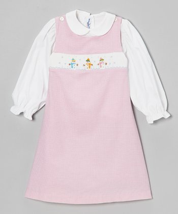 White Top & Pink Snowman Jumper - Infant & Girls