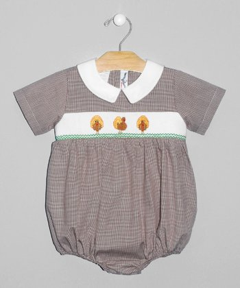 Brown Turkey Smocked Bodysuit - Infant