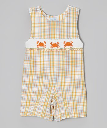 Blue & Orange Plaid Crab John Johns - Infant & Toddler