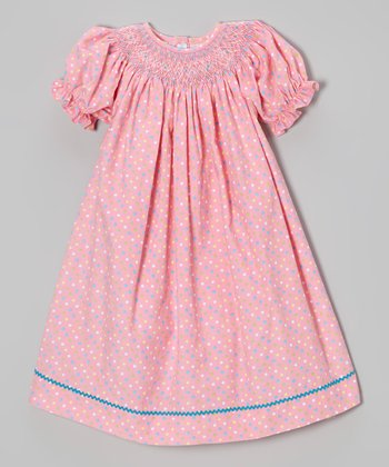 Pink Polka Dot Smocked Bishop Dress - Infant & Toddler