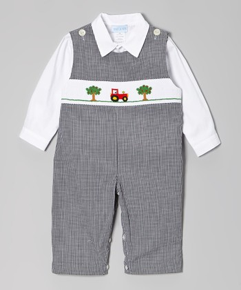 Black Tractor Smocked Overalls & White Top - Infant & Toddler