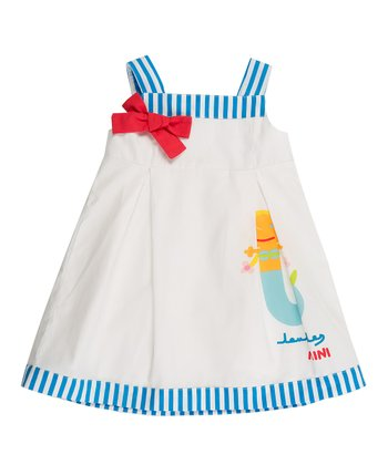 White & Blue Mermaid Bow Dress - Infant