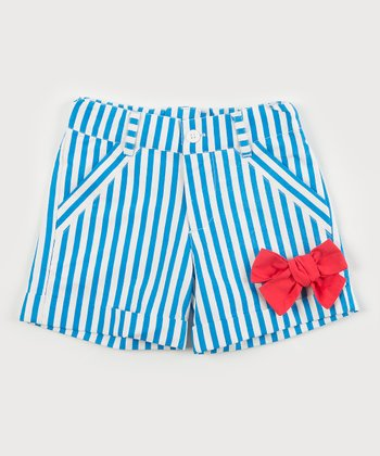 Blue Stripe Bow Sailor Shorts - Toddler & Girls