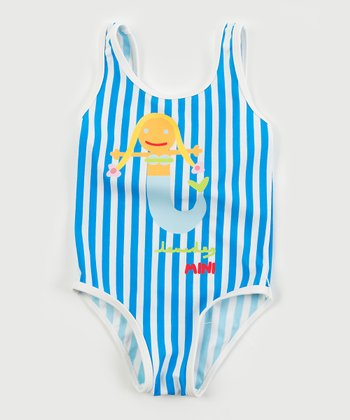Blue & White Stripe Mermaid One-Piece - Infant & Girls
