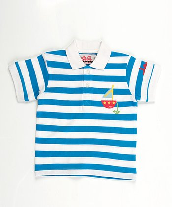 Blue Stripe Sailboat Polo - Infant, Toddler & Boys