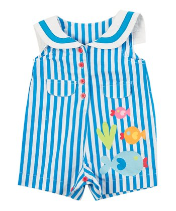 Blue Stripe Fish Romper - Infant