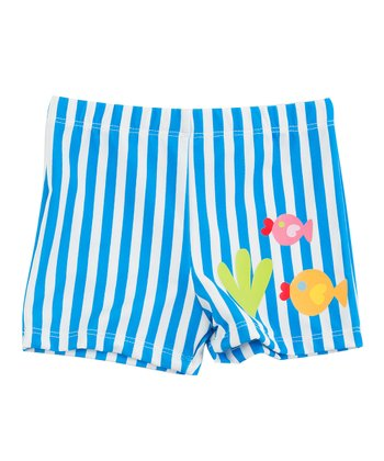 Blue Stripe Fish Swim Shorts - Infant, Toddler & Boys