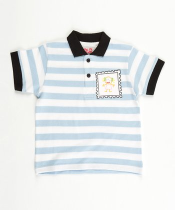 Blue Stripe Stamp Polo - Infant, Toddler & Boys