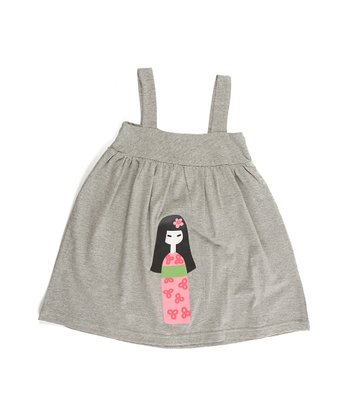 Gray Cherry Blossom Babydoll Dress - Girls