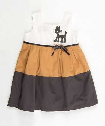 White & Brown Jungle Dress - Infant, Toddler & Girls