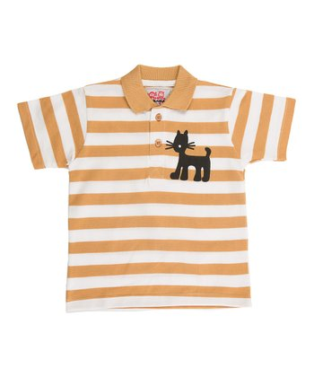 Tan & White Stripe Jungle Polo - Infant, Toddler & Boys