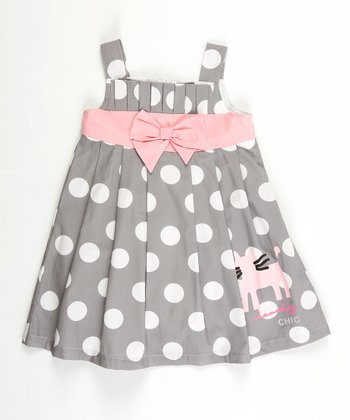 Gray Polka Dot Paris Dress - Infant, Toddler & Girls