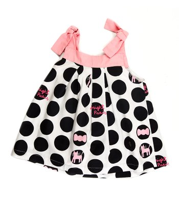 Pink & Black Polka Dot Paris Dress - Girls