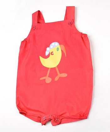 Red Parrot Shortalls - Infant
