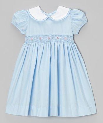 Light Blue Smocked Cap-Sleeve Dress - Infant & Toddler