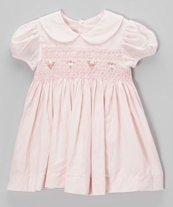 Pink Smocked Rosette Dress - Infant & Toddler