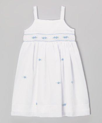 White & Blue Floral Smocked Dress - Toddler & Girls