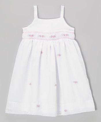 White & Pink Floral Smocked Dress - Toddler & Girls