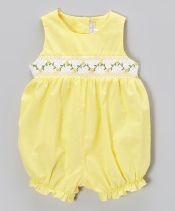 Yellow Floral Smocked Romper - Infant