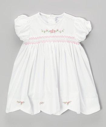 White & Pink Rosette Smocked Dress - Infant & Toddler