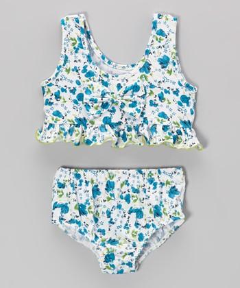 White & Blue Floral Bikini - Infant, Toddler & Girls