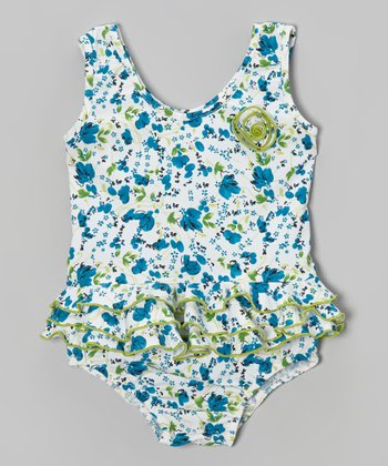 Blue & Green Floral Skirted One-Piece - Infant, Toddler & Girls