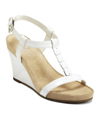 White Rose Plush Wedge Sandal
