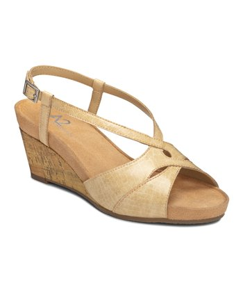 Tan Croco Stoplight Wedge Sandal