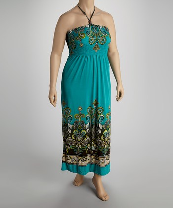 Green Halter Maxi Dress - Plus