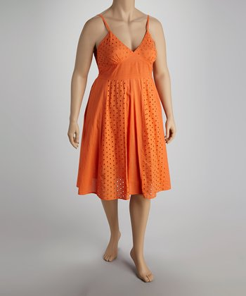 Orange Eyelet Dress - Plus