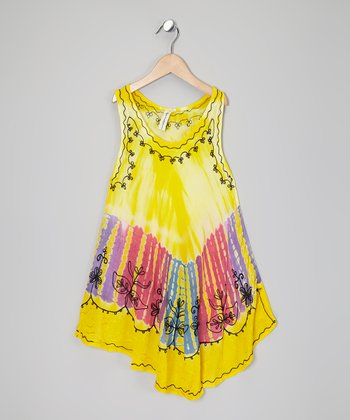 Yellow Tie-Dye Flower Dress