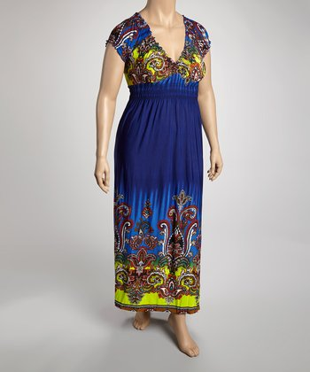 Navy & Chartreuse Mehndi Cap-Sleeve Dress - Plus