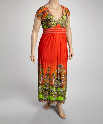 Orange & Chartreuse Mehndi Cap-Sleeve Dress - Plus