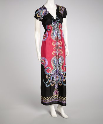 Fuchsia & Black Mehndi Cap-Sleeve Maxi Dress