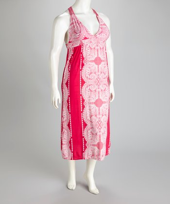 Fuchsia Racerback Maxi Dress - Plus